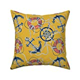 Promini Decorative Pillowcase Canvas Pillow Cover Gold Nautical Throw Pillow - Ahoy There - Mustard...