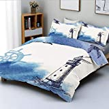 Duvet Cover Set,Nostalgic Watercolors with Gull Ancient Anchor Lighthouse Nautical ThemeDecorative 3...