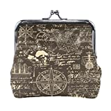 Coin Purse Leather Vintage Old World Nautical Anchor Compass Mini Clutch Pouch Wallet for Women...