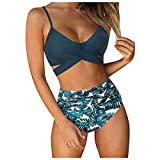 Women Bikini Set, Strappy Cross Floral Print High Waisted Halter Top Bathing Suits 2 Piece Sexy...