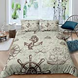 Loussiesd Anchor Decor Duvet Cover Nautical Bedding Set Compass Sailboat Printed Comforter Cover for...