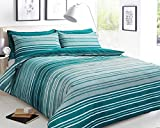 Sleepdown Textured Stripe Teal Soft Duvet Cover Quilt Bedding Set With Pillowcases - Double (200cm x...