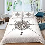 Evvaceo Child Bedding Set Duvet Cover And Pillowcase Vintage Modern Nautical Compass Pattern White...