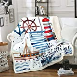 Loussiesd Nautical Decor Fleece Blanket for Chair Sofa Couch Sailboat Anchor Rudder Sherpa Blanket...