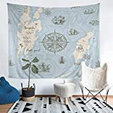 Loussiesd Nautical Theme Tapestry Compass Sailboat Ocean Voyage Tapestries Wall Hanging for Kids...