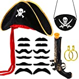 17 Pieces Pirate Costume Sets, Include Pirate Hat Cap, Captain Eye patch, Gold Earring, Fake...