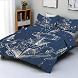 Duvet Cover Set,Nautical Knot Compass Anchor Pattern Sea World Ocean Life Grunge Illustration...