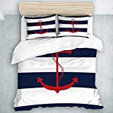 TARTINY Nautical Red Anchor Print Navy Blue White Stripe,College Dorm Room Decorative 3 Pc Bedding...