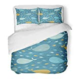 3 Piece Duvet Cover Set Brushed Microfiber Fabric Breathable Blue Adorable Cute Whale Pattern...