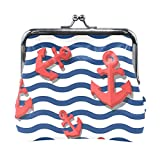 BONIPE Stripes Wave Nautical Anchor Coin Purse Leather Mini Clutch Pouch Wallet for Women Girls