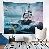 Boys Nautical Decor Wall Blanket For Kids Adults Sailboat Printed Wall Hanging Ocean Themed Tapestry...