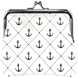 Womens Clasp Coin Purse Cards Case Classic Anchor Print Wallet Buckle Clutch