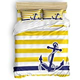 SAYING Bedding Duvet Cover Set Navy Blue Nautical Anchor with Yellow and White Stripe Pattern...