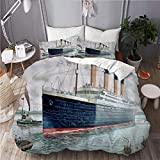 XINGAKA Printed Duvet cover,Nautical Retro Classic Titanic Ship Ocean Scenery Watercolor...