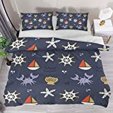 Josid Nautical Duvet Cover Set Full Size,Cute Sailing and Crabs Comforter Cover with Zipper...