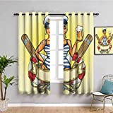 Girly Decor Outdoor curtain Pin Up Sexy Sailor Girl in Lifebuoy with Captain Hat and Costume Glass...