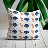Promini Decorative Pillow Cover Shell And Seahorse Pillow Cover Beach House Pillow Beach House Decor...