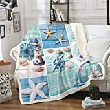 Loussiesd Nautical Theme Fleece Sherpa Blanket Sailboat Starfish Plush Blanket for Chair Sofa Couch...