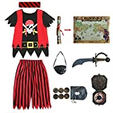 Kids Pirate Costume,Pirate Role Play Dress Up Completed Set 8pcs for Boys Size 3-4,5-6,7-8,8-10...
