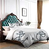 Hiiiman Home Textiles Bedding Set Bedclothes Vintage Sketch Nautical Element Ship Sailing Travel...