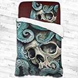 SFWER Nautical Sugar Skull Octopus Duvet Cover Set Printed Decorative 2 Piece Bedding Set with...
