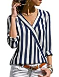 Mayyou Womens Casual V-neck Striped Chiffon Ladies Top Long Sleeve Shirt Blouse