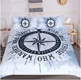 BeddingOutlet Compass Bedding Set Nautical Map Duvet Cover Navy Blue And White Bedclothes Adults...