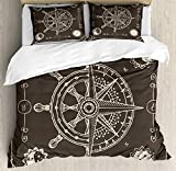 YnimioHOB Nautical Duvet Cover Set, Maritime Inspired Design Compass Windrose with Floral Sun and...