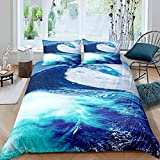 HUA JIE Queen Bedding Set,Ocean Duvet Cover Nautical Theme Blue Bedding Set Beach Wave Decor...