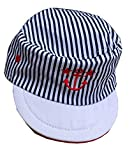 Baby Boys Cotton Striped Sun Cap/Hat Nautical Anchor Design Navy & White (0-3 Months, White Peak)