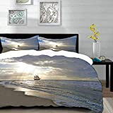 bedding - Duvet Cover Set,Nautical,A Sailing Ship Close to Sandy Beach in Moody Sunset Paradise...