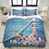 Duvet Cover,Nautical Coastal Sea Shell Fishing Net Lighthouse Starfish Ocean Beach Theme Blue...