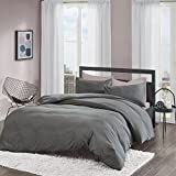 SCM Washed Non-Iron Plain Brushed Duvet Cover Set King Size - 3 Pcs Ultra Soft Hypoallergenic...