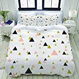 YOLIKA Bedding-Duvet Cover Set,white,Abstract geometric triangles in pastel pink, gold and dark...