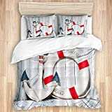 Duvet Cover,Modern Nautical Theme Vintage Anchor with Cork Hoop on Grey Wood BOAD Rustic,Quality...