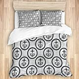 Ttrsudddsyy Duvet Cover Sets Bed Sheets,Anchor Nautical Marine Tropical Symbol,3 Piece Bedding Set...