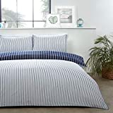 Sleepdown Mini Stripe Navy Blue White Reversible Soft Easy Care Duvet Cover Quilt Bedding Set with...