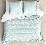 ABAKUHAUS Nautical Duvet Cover Set, Abstract Clouds Waves, Bedding Set 3 Pieces with 2 Pillow Shams,...