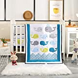 Wowelife Whale Baby Crib Bedding Set 7 Piece Blue Ocean, Nautical and Anchors Nursery Crib Set(Blue...