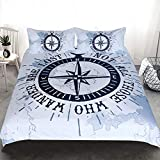 Bling Compass Duvet Cover Set, Compass and Nautical Theme Voyage Words, Decorative 3 Piece Bedding...
