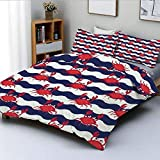 Duvet Cover Set,Nautical Theme Cute Crabs on the Striped Background Illustration PrintDecorative 3...