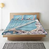 Zozun Duvet Cover, Nautical Coastal Sea Shell Fishing Net Lighthouse Starfish Ocean Beach Theme Blue...