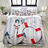 Luoquan 3 Piece Duvet Cover Set Ultra Soft Bedding Set,Modern Nautical Theme Vintage Anchor with...