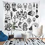 Nautical Theme Bedding Throw Blanket Kids Boys Teens Ocean Marine Life Tapestries Wall Hanging...