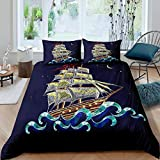 Eastern Style 3D Sailboat Embroidered Print Comforter Cover Set,Nautical Bedding Duvet Cover Set For...