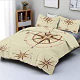 Duvet Cover Set,Four Different Compasses in Retro Colors Discovery Equipment Where Nautical Marine...