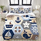 Duvet Cover Set, Seamless Nautical Themed Vector Pattern On, Colorful Decorative 3 Piece Bedding Set...