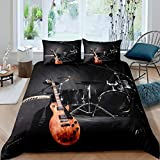 Loussiesd Teens Guitar Bedding Set Rock Music Themed Duvet Cover For Kids Adults Musical Pattern...