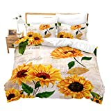 Romantic Flowers Duvet Cover King Sunflower Decor Adult Postcards Newspapers Bedding Comforter Set...