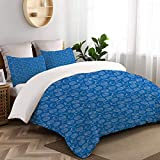 TARTINY Duvet Cover Set, Aquatic Summer Nautical Theme Outline Simplistic Pattern of Various...